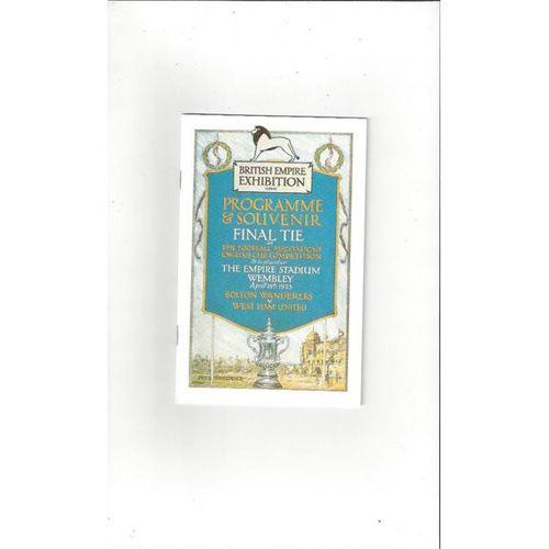 1923 Bolton Wanderers v West Ham United FA Cup Final Football Programme Reprint