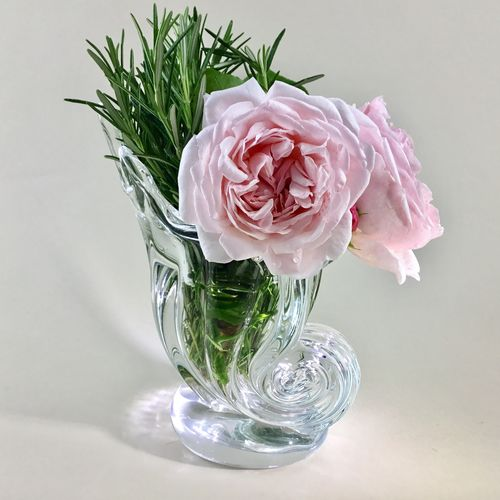 20th Century crystal cornucopia vase