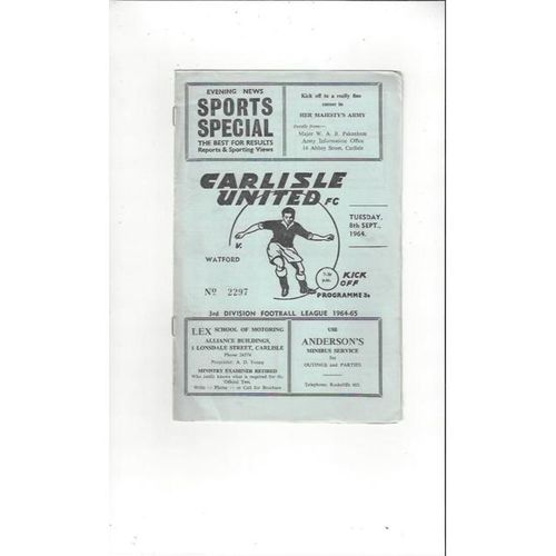 1964/65 Carlisle United v Watford Football Programme