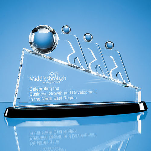 Optical Crystal Slope Teamwork Award Mounted on an Onyx Black Crystal Base (32cm)