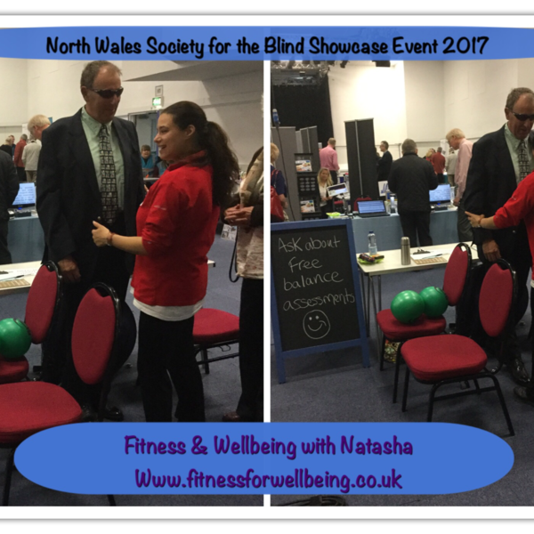 Picture of Natasha carrying out a balance assessment with a blind gentleman at the North Wales Society for the Blind Showcase 2017