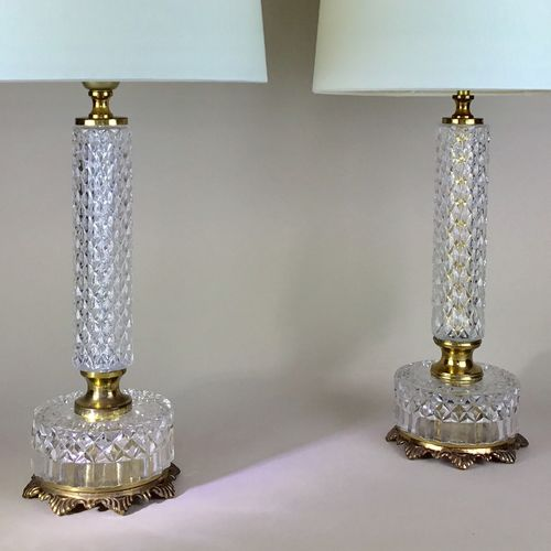 Pair of French ormolu and glass lamps
