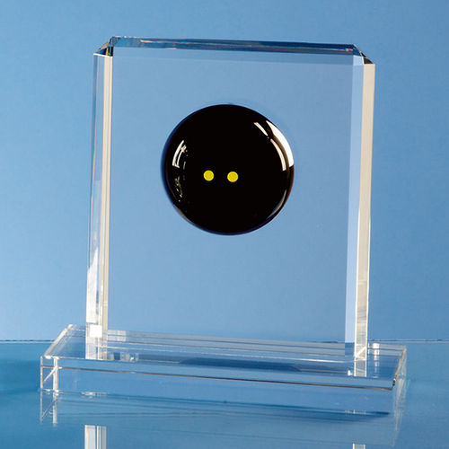 Optical Crystal Squash Ball Rectangle Award - 15cm