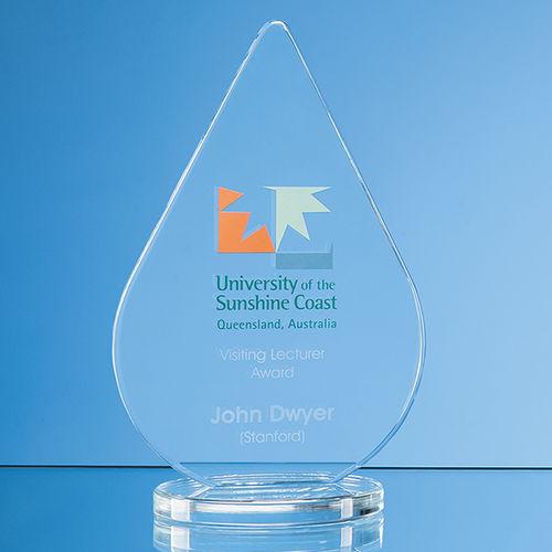 Clear Glass Teardrop Award - 14cm x 9cm x 10mm