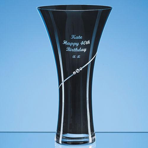 Onyx Black Diamante Trumpet Vase - 25cm