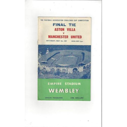 1957 Aston Villa v Manchester United FA Cup Final Football Programme