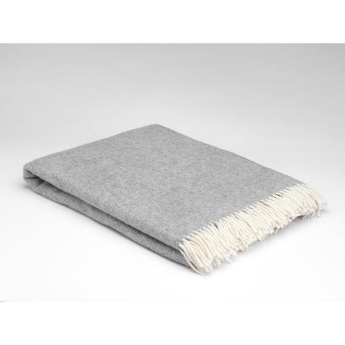 Uniform Grey Herringbone lambswool throw