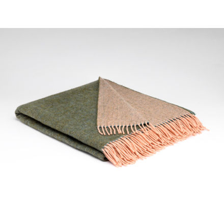 Sage & Coral reversible Pure Wool Throw