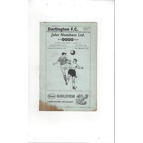 1961/62 Darlington v Colchester United Football Programme