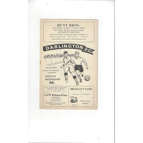 1964/65 Darlington v Southport Football Programme