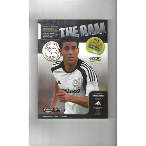 2008/09 Derby County v Manchester United League Cup Semi Final Football Programme