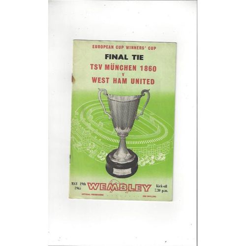 1965 TSV Munchen 1860 v West Ham United European Cup Winners Cup Final Football Programme