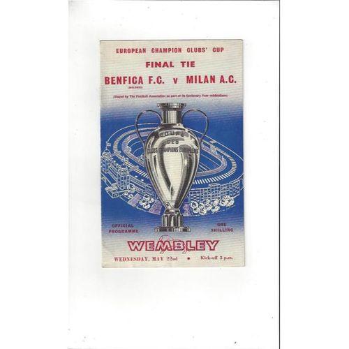 1963 Benfica v AC Milan European Cup Final Football Programme