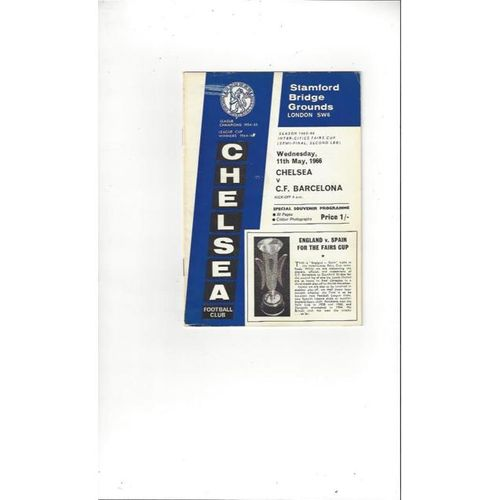 1965/66 Chelsea v Barcelona Fairs Cup Semi Final Football Programme