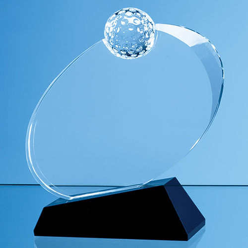 Optical Crystal Golf Ball Award Mounted on an Onyx Black Base - 16cm