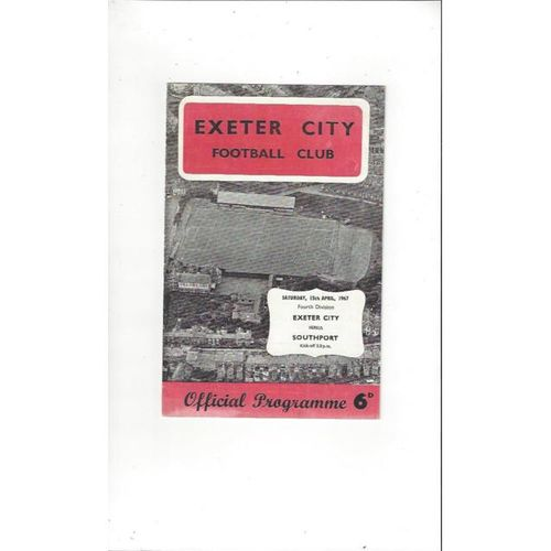 1966/67 Exeter City v Southport Football Programme