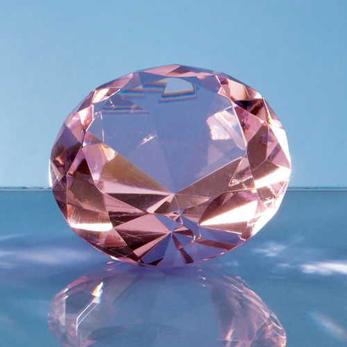 Optical Crystal Pink Diamond Paperweight - 6cm