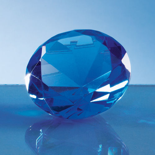 Optical Crystal Blue Diamond Paperweight - 6cm
