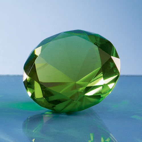 Optical Crystal Green Diamond Paperweight - 6cm