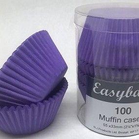 100 Purple Brights Muffin Cases