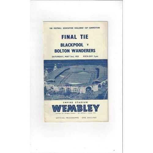 1953 Blackpool v Bolton Wanderers FA Cup Final Football Programme