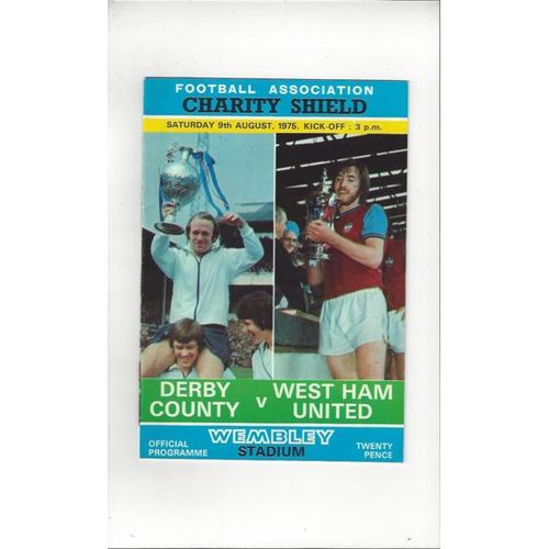 1975 Derby County v West Ham United Charity Shield Football Programme
