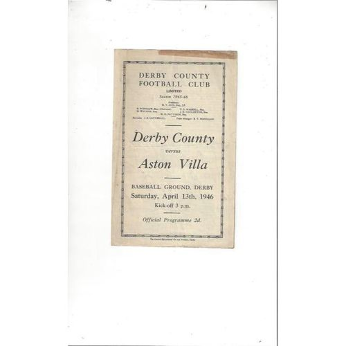 1945/46 Derby County v Aston Villa Football Programme April 13th