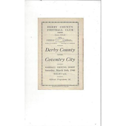 1945/46 Derby County v Coventry City Football Programme