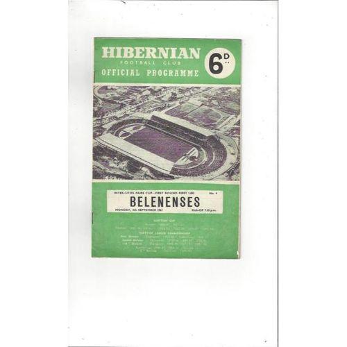 1961/62 Hibernian v Belenenses Fairs Cup Football Programme