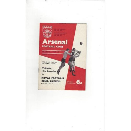 1963/64 Arsenal v Royal Club Liegeois Fairs Cup Football Programme