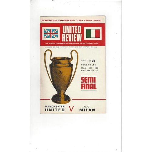1969 Manchester United v AC Milan European Semi Final Football Programme