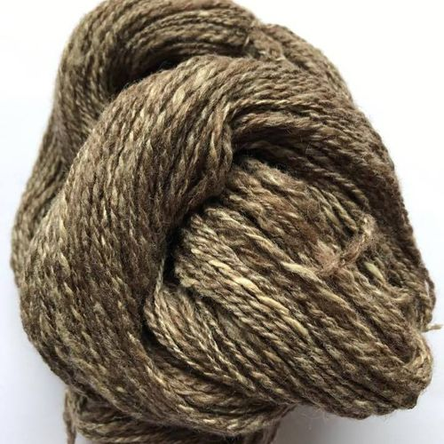 Hand Spun Bluefaced Leicester and Tussah Silk - Natural Browns