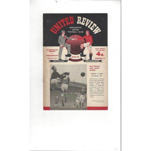 1958/59 Manchester United v Portsmouth Football Programme