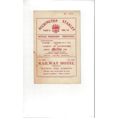 1957/58 Accrington Stanley v Carlisle United Football Programme
