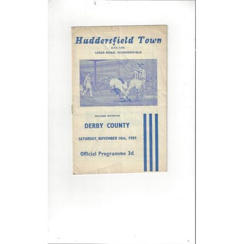 1959/60 Huddersfield Town v Derby County Football Programme