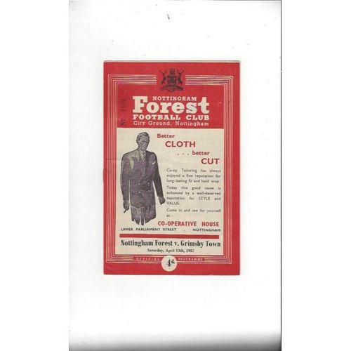 1956/57 Nottingham Forest v Derby County Football Programme