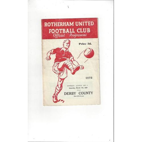 1958/59 Rotherham United v Derby County Football Programme