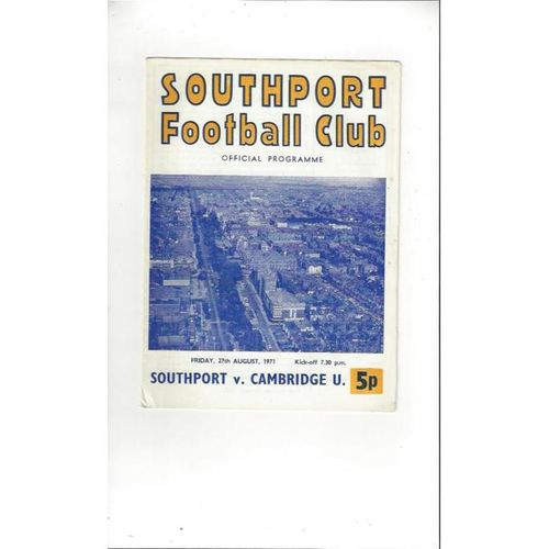1971/72 Southport v Cambridge United Football Programme