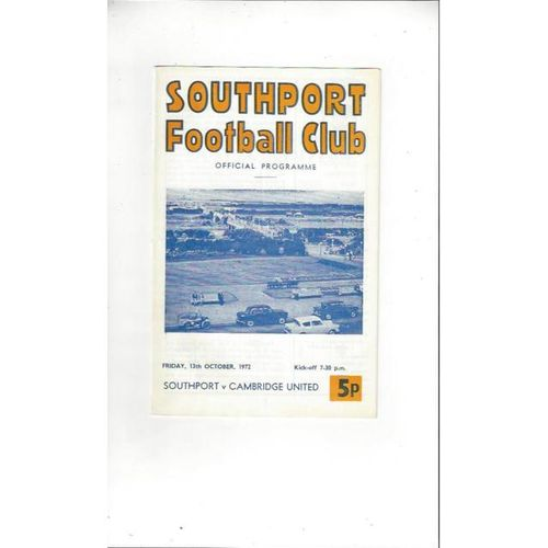 1972/73 Southport v Cambridge United Football Programme