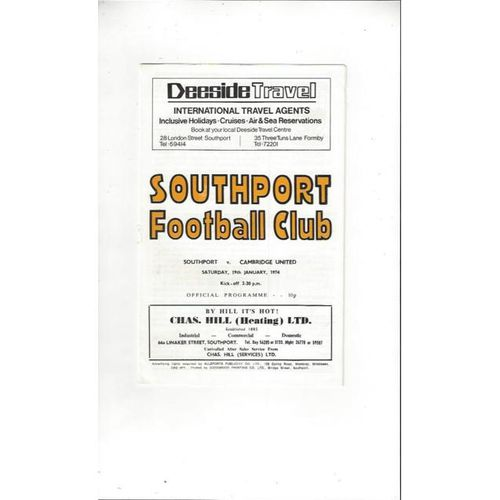 1973/74 Southport v Cambridge United Football Programme