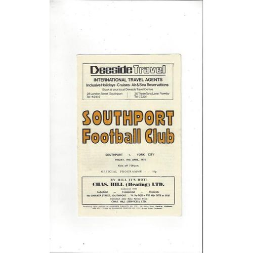 1973/74 Southport v York City Football Programme