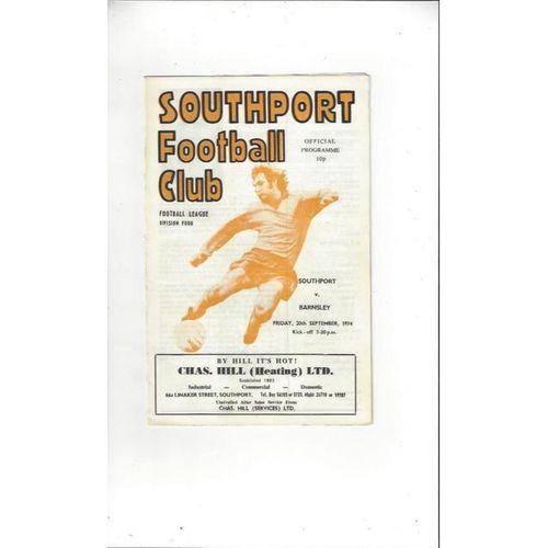 1974/75 Southport v Barnsley Football Programme