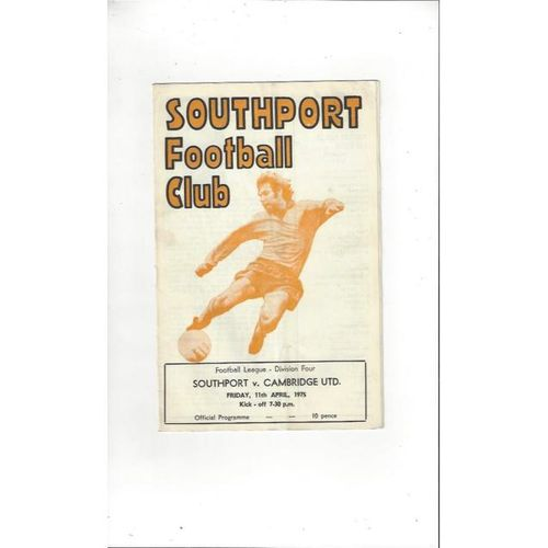 1974/75 Southport v Cambridge United Football Programme