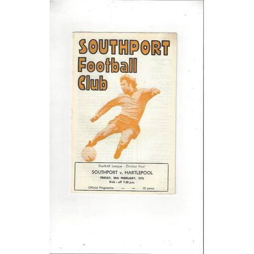 1974/75 Southport v Hartlepool United Football Programme