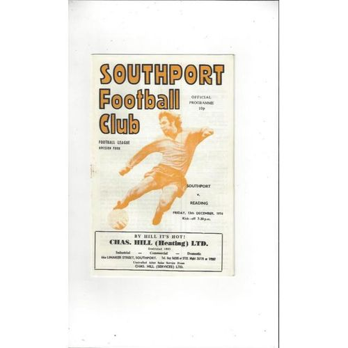 1974/75 Southport v Reading Football Programme