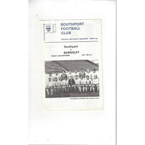 1976/77 Southport v Barnsley Football Programme