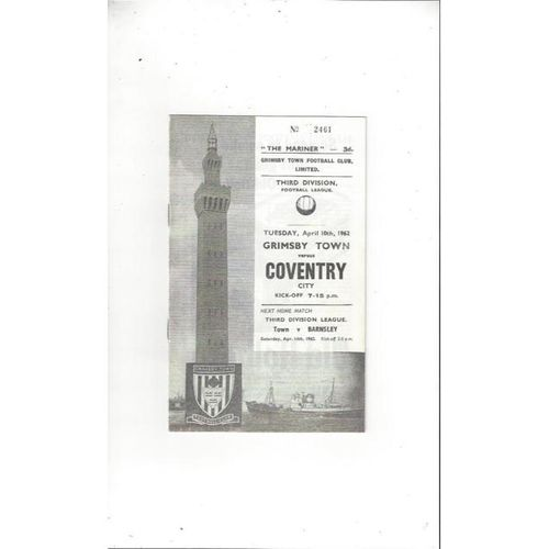 1961/62 Grimsby Town v Coventry City Football Programme