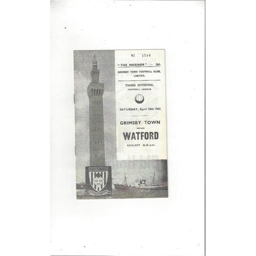 1961/62 Grimsby Town v Watford Football Programme