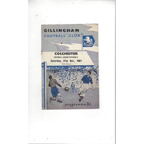 1961/62 Gillingham v Colchester United Football Programme