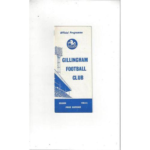 1964/65 Gillingham v Carlisle United Football Programme